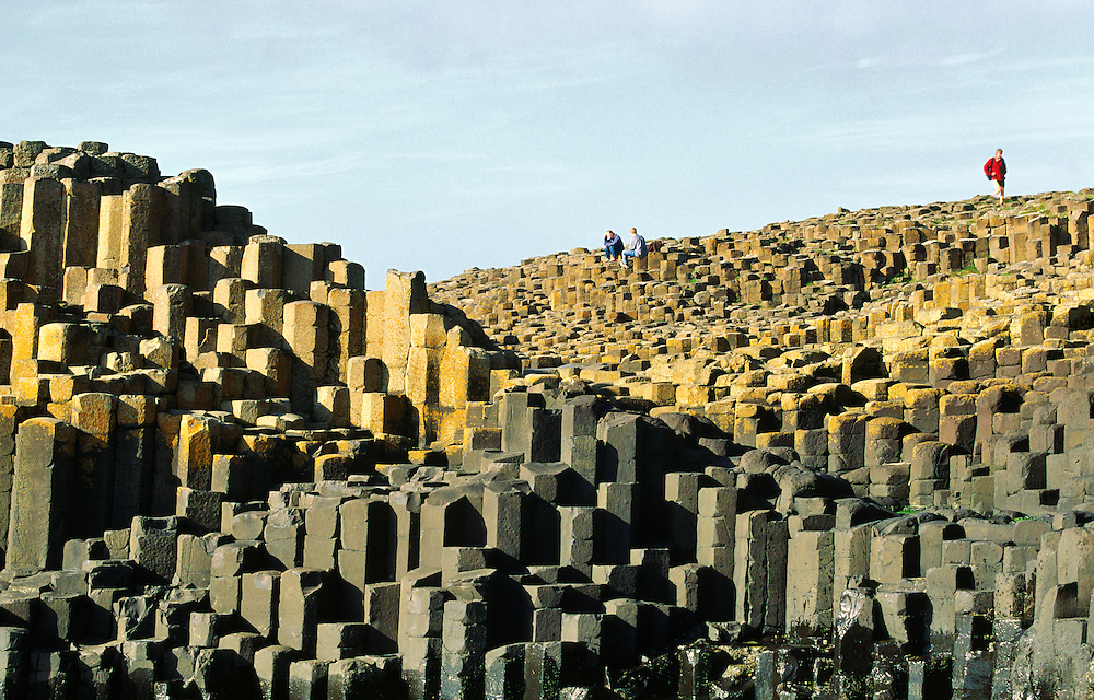The Giants Causeway near Bushmills, Ireland. Volcanic basalt rock hexagonal columns of the Honeycomb and the Grand Causeway.