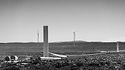 Back & white image of the Sere Wind farm & the erection of turbines