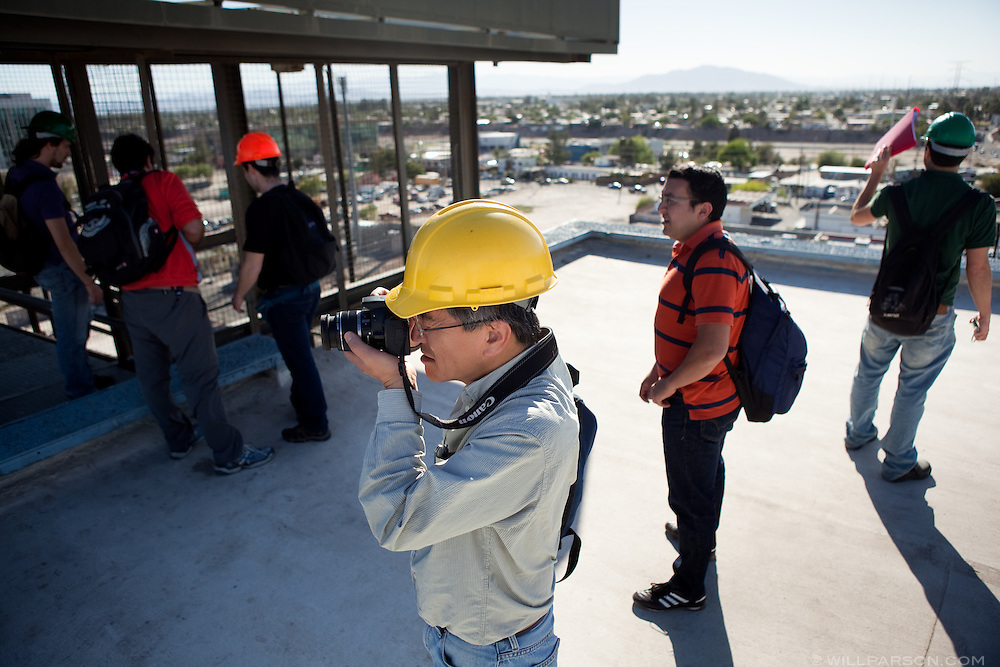 A group of researchers led by Dr. Benson Shing, Vice Chair of the Department of Structural Engineering at the University of California, San Diego, inspected the earthquake damage in Mexicali, Mexico, April 7, 2010. A 7.2 magnitude earthquake in Baja California on Easter Sunday was felt as far away as Los Angeles.