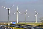 Nederland, Echteld, 29-1-2013Windmolens staan in het landschap langs de snelweg A15.Foto: Flip Franssen/Hollandse Hoogte