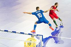 Vassoura of Azerbaijan and Ricardinho of Portugal during futsal quarterfinal match between National teams of Portugal and Azerbaijan at Day 8 of UEFA Futsal EURO 2018, on February 6, 2018 in Arena Stozice, Ljubljana, Slovenia. Photo by Urban Urbanc / Sportida