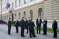 Domen Lorbek, Dusan Sesok, , Jaka Klobucar, Matej Avanzo, Uros Slokar, Iztok Rems of Slovenian basketball national team after Eurobasket 2009 before the reception at president of Slovenia dr. Danilo Türk,  on September 28, 2009, in Presernova 8, Ljubljana, Slovenia.  (Photo by Vid Ponikvar / Sportida)