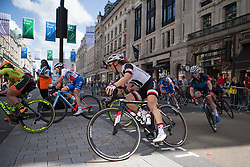 Leah Kirchmann (CAN) of Team Sunweb corners at the top of Regent Street during Stage 5 of the OVO Energy Women's Tour - a 62 km road race, starting and finishing in London on June 11, 2017, in London, United Kingdom. (Photo by Balint Hamvas/Velofocus.com)