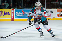 KELOWNA, CANADA -FEBRUARY 8: Nick Merkley #10 of the Kelowna Rockets skates against the Victoria Royals on February 8, 2014 at Prospera Place in Kelowna, British Columbia, Canada.   (Photo by Marissa Baecker/Getty Images)  *** Local Caption *** Nick Merkley;