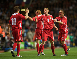 BIRMINGHAM, ENGLAND - Monday, October 13, 2008: Wales' Simon Church celebrates scoring the second goal against England during the UEFA European Under-21 Championship Play-Off 2nd Leg match at Villa Park. (Photo by Gareth Davies/Propaganda)