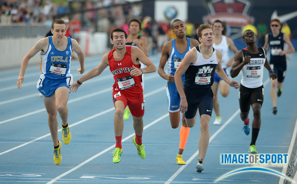 Jun 21, 2013; Des Moines, IA, USA; Nicholas Rivera of Texas Tech (center) defeats Marcus Dickson of BYU (left) and Nick Hartle of UCLA (left) to win the junior 800m in 1:49.55 in the 2013 USA Championships at Drake Stadium.