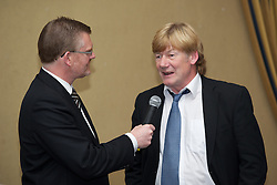 LIVERPOOL, ENGLAND - Friday, May 20, 2011: Darren Griffith interviews xxxx at the Health Through Sport charity dinner at the Devonshire House. (Photo by David Rawcliffe/Propaganda)
