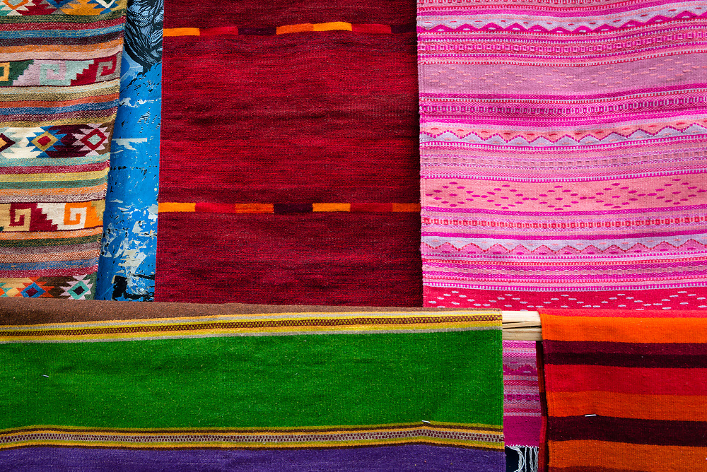 Traditional Zapotec woven rugs in Oaxaca, Mexico