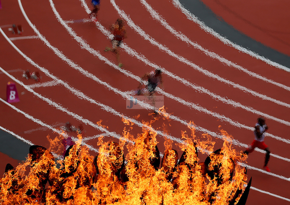 The start of a women's 400m heat during the track and field event at the Olympic Stadium during day 6 of the London Olympic Games in London, England, United Kingdom on August 3, 2012..(Jed Jacobsohn/for The New York Times)..