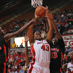 Dec 7, 2008; Piscataway, NJ, USA; Rutgers center Rashidat Junaid (43) goes up for a basket against Georgia Lady Bulldog defenders during the first half of Rutgers' 45-34 victory over Georgia in the Jimmy V Classic at Louis Brown Athletic Center.