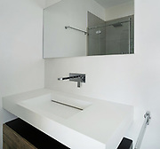 interior modern house, white bathroom, sink view