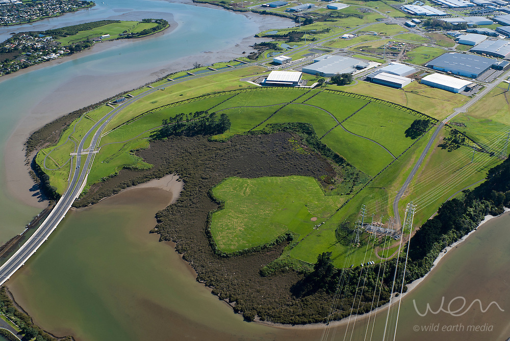 Aerial view of one of Auckland's oldest volcanoes