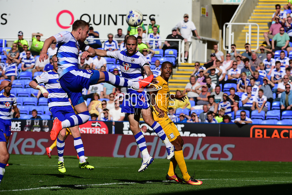 Reading defender Chris Gunter (2) clears the ball during the EFL Sky Bet Championship match between Reading and Preston North End at the Madejski Stadium, Reading, England on 6 August 2016. Photo by Jon Bromley.