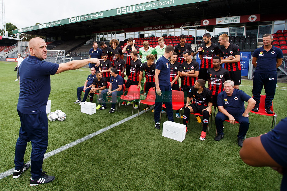 Assistant trainer Andre Hoekstra give instructions to put everyone on the right position during the team presentation of Excelsior Rotterdam on July 14 , 2017 at the Van Donge & De Roo stadium in Rotterdam, The Netherlands