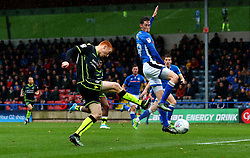 Rory Gaffney of Bristol Rovers shoots at goal - Mandatory by-line: Robbie Stephenson/JMP - 21/10/2017 - FOOTBALL - Crown Oil Arena - Rochdale, England - Rochdale v Bristol Rovers - Sky Bet League One