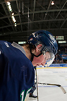KELOWNA, CANADA - FEBRUARY 23: Noah Philp #16 of the Seattle Thunderbirds spits blood onto the ice from the bench against the Kelowna Rockets on February 23, 2018 at Prospera Place in Kelowna, British Columbia, Canada.  (Photo by Marissa Baecker/Shoot the Breeze)  *** Local Caption ***