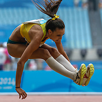 Tay-Lelha Clark of Australia competes in the Women's Triple Jump Final at the Nanjing Youth Olympic Games 2014 in Nanjing, China, 25 August 2014. The Nanjing Youth Olympic Games 2014 run from 16 to 28 August 2014.