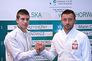 (L) Borna Coric of Croatia & (R) Michal Przysiezny of Poland while official draw at Regent Hotel one day before the BNP Paribas Davis Cup 2014 between Poland and Croatia at Torwar Hall in Warsaw on April 3, 2014.<br /> <br /> Poland, Warsaw, April 3, 2014<br /> <br /> Picture also available in RAW (NEF) or TIFF format on special request.<br /> <br /> For editorial use only. Any commercial or promotional use requires permission.<br /> <br /> Mandatory credit:<br /> Photo by © Adam Nurkiewicz / Mediasport