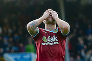 Burnley midfielder Scott Arfield can't believe he's missed during the Sky Bet Championship match between Burnley and Brighton and Hove Albion at Turf Moor, Burnley, England on 22 November 2015. Photo by Simon Davies.