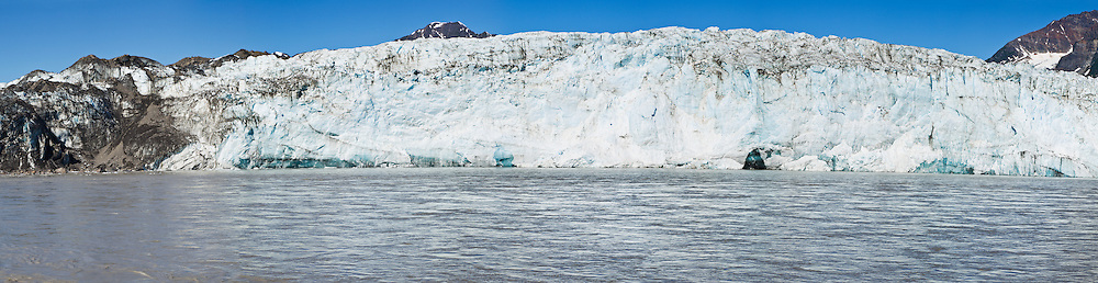 Panoramic composite of Childs Glacier and Copper River in Childs Glacier Million Dollar Bridge Recreation Area in Copper River Delta of Prince William Sound near Cordova in Southcentral Alaska. Morning. Summer.