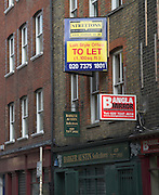 Property to Let signs, near Brick Lane, London