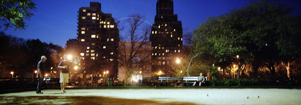 With space at a premium in the vast metropolis of Manhattan, New York City, locals find ways and means for pastime exercise and recreational activities as they and go about their daily lives..Boule in Washington Square Park on May 3, 2004. Photo Tim Clayton