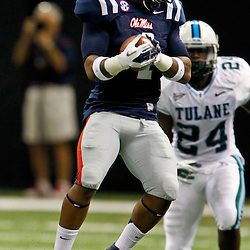 September 22, 2012; New Orleans, LA, USA; Ole Miss Rebels linebacker Denzel Nkemdiche (4) intercepts a pass against the Tulane Green Wave during the second quarter of a game at the Mercedes-Benz Superdome.  Mandatory Credit: Derick E. Hingle-US PRESSWIRE