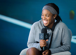October 1, 2018 - Sloane Stephens of the United States visits the Mercedes Benz booth at the 2018 China Open WTA Premier Mandatory tennis tournament (Credit Image: © AFP7 via ZUMA Wire)
