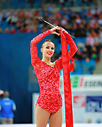 Rizatdinova Anna during final at ribbon in Pesaro World Cup at Adriatic Arena on April 12, 2015. Anna was born July 16, 1993 in Simferopol, she is a Ukrainian individual rhythmic gymnast.
