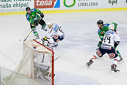 13.09.2015, Hala Tivoli, Ljubljana, SLO, EBEL, HDD Telemach Olimpija Ljubljana vs EC VSV, 2. Runde, in picture Miha Logar (HDD Telemach Olimpija, #17), Gerhard Unterluggauer (EC VSV, #6), Jean-Philippe Lamoureux (EC VSV, #1) and Matt Kelly (EC VSV, #44) during the Erste Bank Icehockey League 2. Round between HDD Telemach Olimpija Ljubljana and EC VSV at the Hala Tivoli, Ljubljana, Slovenia on 2015/09/13. Photo by Urban Urbanc / Sportida