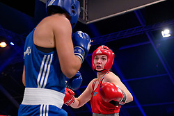 17-11-2019 NED: World Port Boxing Netherlands - Kazakhstan, Rotterdam<br /> 3rd World Port Boxing in Excelsior Stadion Rotterdam / Nouchka Fontijn (NED) in action against Valentina Khalzova (KAZ), 75 kg class