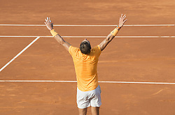 April 27, 2018 - Barcelona, Barcelona, Spain - RAFAEL NADAL celebrates victory against MARTIN KLIZAN in the Barcelona Open Banc Sabadell 2018. RAFAEL NADAL won the match 6-0 7-5. (Credit Image: © Patricia Rodrigues/via ZUMA Wire via ZUMA Wire)