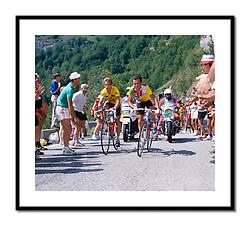 Bernard Hinault and Greg LeMond, Tour de France 1986<br /> <br /> Teammates and rivals climb Alpe d'Huez side-by-side.