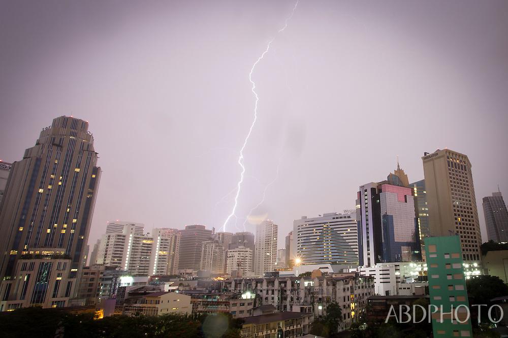 Bangkok lightning storm Sukhumvit Road, Sotitel, Sheraton, Terminal 21,