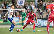 Frederik Juul Christensen (FC Helsingør) har øjne på Andreas Smed (HIK) under kampen i 2. Division mellem HIK og FC Helsingør den 30. august 2019 i Gentofte Sportspark (Foto: Claus Birch)