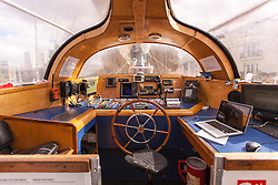 The Wheel house of Tara The French scientific research vessel Tara as it arrives in London for a ten-day stay. The schooner has just completed a two-and-a-half year, 70,000-mile voyage across the Atlantic, Pacific, Antarctic and Indian Oceans, investigating marine ecosystems and biodiversity under the impact of climate change, St Katharine's Docks, London, Tuesday September 18, 2012. Photo By Matthew Aslett/i-Images