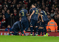 Football - 2018 / 2019 FA Cup - Fourth Round: Arsenal vs. Manchester United <br /> <br /> Manchester United players celebrate after Alexis Sanchez (Manchester United) scores the opening goal at The Emirates Stadium.<br /> <br /> COLORSPORT/DANIEL BEARHAM