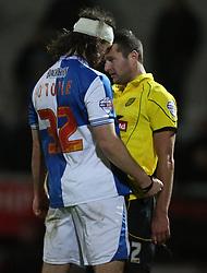 Bristol Rovers' John-Joe OToole goes head to head with Burton Albion's Phil Edwards- Photo mandatory by-line: Matt Bunn/JMP - Tel: Mobile: 07966 386802 23/11/2013 - SPORT - Football - Burton - Pirelli Stadium - Burton Albion v Bristol Rovers - Sky Bet League Two