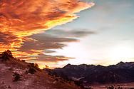 Absaroka Range, from east of Livingston, Montana, sunrise