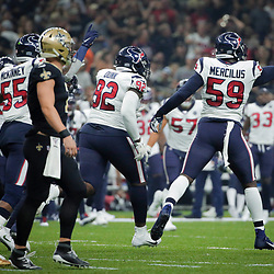 Sep 9, 2019; New Orleans, LA, USA; Houston Texans outside linebacker Whitney Mercilus (59) celebrates after an interception during the first quarter against the New Orleans Saints at the Mercedes-Benz Superdome. Mandatory Credit: Derick E. Hingle-USA TODAY Sports