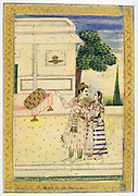 Album of Ragamala. A prince leads a young woman towards a divan .   19th century Indian miniature, Rajasthan School.
