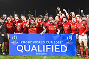 Canada celebrate qualifying for the world cupduring the Rugby World Cup qualifier between Hong Kong and Canada at Stade Delort, Marseilles, France on 23 November 2018. Picture by Ian  Muir.