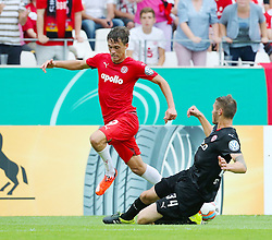 09.08.2015, Stadion Essen, Essen, GER, DFB Pokal, Rot Weiss Essen vs Fortuna Duesseldorf, 1. Runde, im Bild v. li. im Zweikampf Marcel Platzek (Essen) und Christian Strohdiek (Duesseldorf) // during German DFB Pokal first round match between Rot Weiss Essen and Fortuna Duesseldorf at the Stadion Essen in Essen, Germany on 2015/08/09. EXPA Pictures © 2015, PhotoCredit: EXPA/ Eibner-Pressefoto/ Hommes<br /> <br /> *****ATTENTION - OUT of GER*****