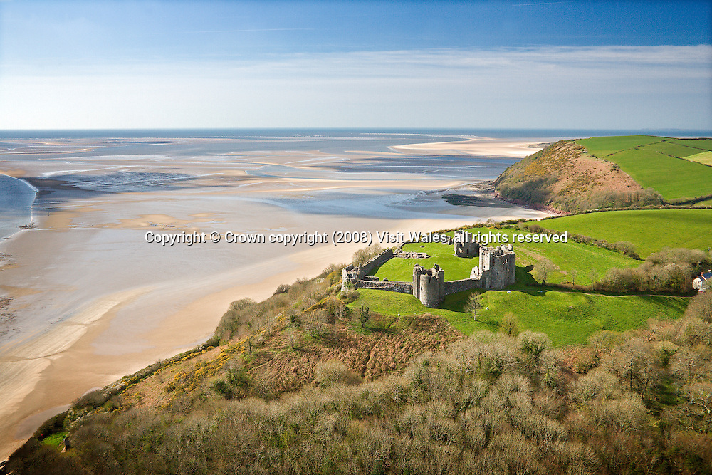 Llansteffan Castle<br /> Aerial<br /> Carmarthenshire<br /> Castles<br /> Historic Sites