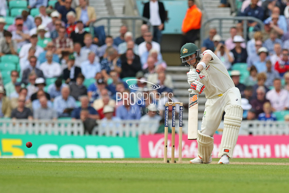 Steven Smith of Australia hits 4 runs for his 50 during the 1st day of the 5th Investec Ashes Test match between England and Australia at The Oval, London, United Kingdom on 20 August 2015. Photo by Phil Duncan.