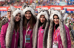 Media XL group Flora Ema Lotric, Eva Bergus, Tea Drobnic, Vivien Isabel Herak Hadas, Tina Orejas, Eva Pongrac, Masa Remskar, Anja Resman) of Music group Osminka during the Men's Slalom - Pokal Vitranc 2012 of FIS Alpine Ski World Cup 2011/2012, on March 11, 2012 in Vitranc, Kranjska Gora, Slovenia.  (Photo By Vid Ponikvar / Sportida.com)