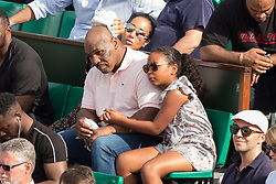 Mike Tyson with wife Lakiha Spicer and daughter Milan Tyson in stands during French Tennis Open at Roland-Garros arena on June 07, 2018 in Paris, France. Photo by Nasser Berzane/ABACAPRESS.COM