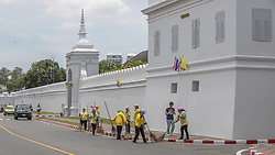 Last Preparation before the coronation ceremony at Royal Palace in Bangkok, Thailand, on May 04, 2019. Everything has to be perfectly clean, It is fashionable to wear a yellow garment (color of royalty) to show respect to the King Bangkok is preparing for the event, Royal Palace District, Coronation of the King of Thailand, Rama X, His Majesty King Maha Vajiralongkorn Bodindradebayavarangkun, Bangkok, Thailand. Photo by Loic Baratoux /ABACAPRESS.COM
