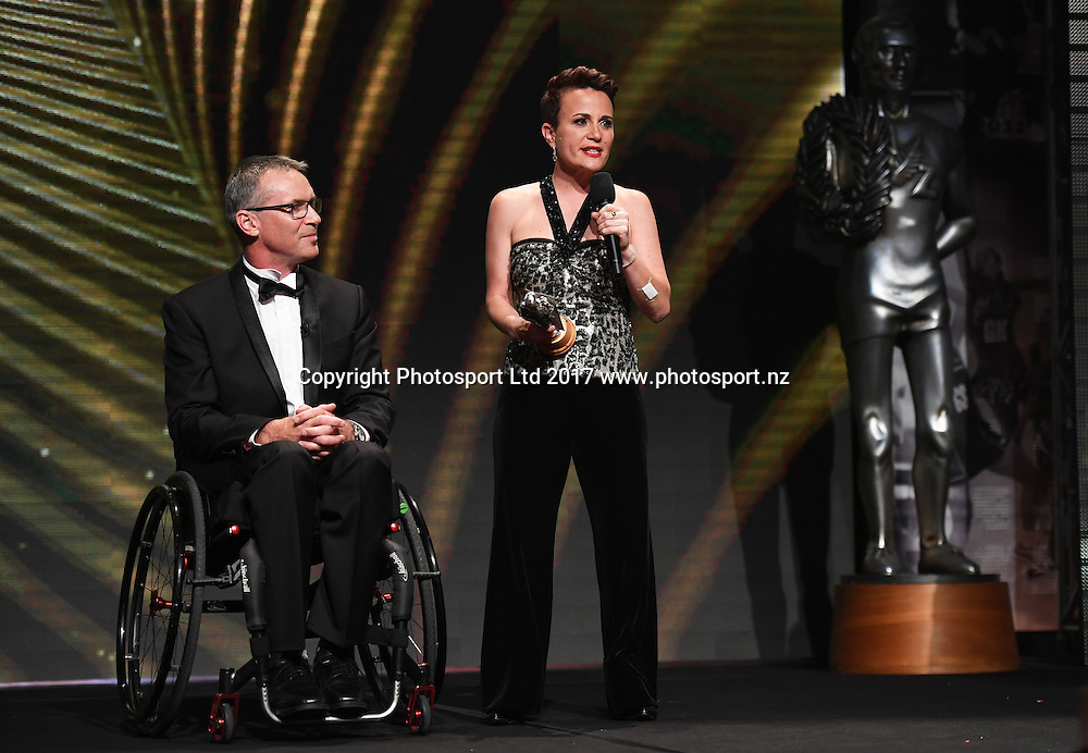 Disabled Sportsperson of the Year Award presenters, Paula Tesoriero and Ben Lucas.<br /> The 54th Halberg Awards in support of the Halberg Disability Sport Foundation. Vector Arena, Auckland, New Zealand. Thursday 9 February 2017. &copy; Copyright photo: Andrew Cornaga / www.photosport.nz