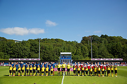 HAVERFORDWEST, WALES - Sunday, August 25, 2013: Wales and France players line-up before the Group A match of the UEFA Women's Under-19 Championship Wales 2013 tournament at the Bridge Meadow Stadium. (Pic by David Rawcliffe/Propaganda)